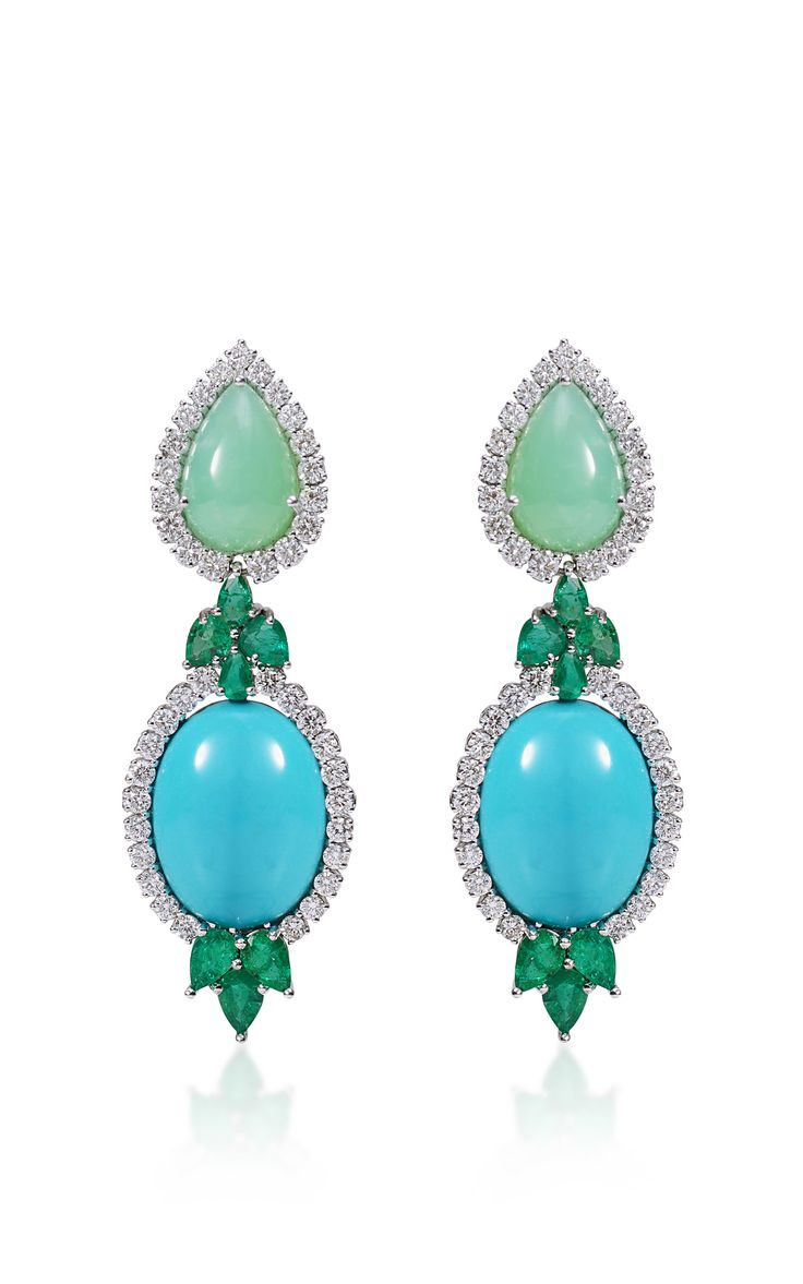 Emerald Turquoise And Chrysophrase Earrings by Farah