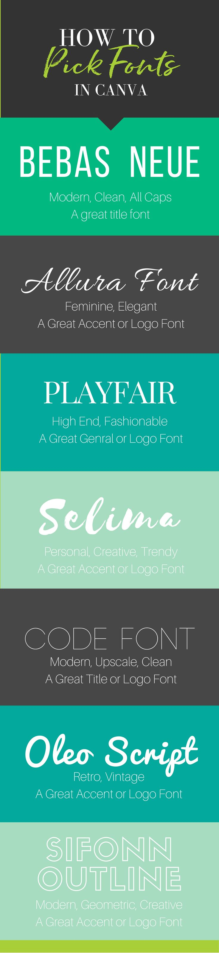Choosing Fonts For Your Brand In Canva   Kate Danielle chats about all the creative ways you can design elegant and stylish fonts for your branding with Canva.    online business, graphic design, pinterest pins, pin designs, canva fonts, canva designs, font themes, font branding styles. via @katedanielle
