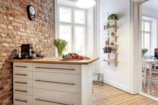 cuisine et mur de briques