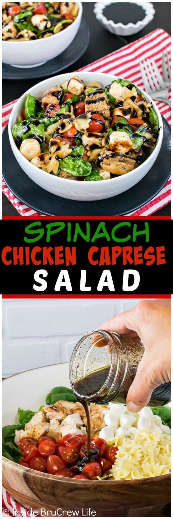 Spinach Chicken Caprese Salad - a homemade balsamic dressing mixed in with veggies and chicken makes this salad a healthy option for dinner.  Easy recipe to make on those busy nights!