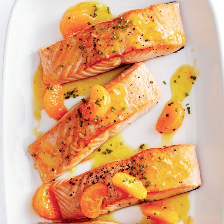 Pavés de saumon glacés à la clémentine et au gingembre
