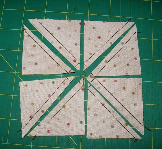 Eight half square triangles in one go.  Includes formula for sizes.: