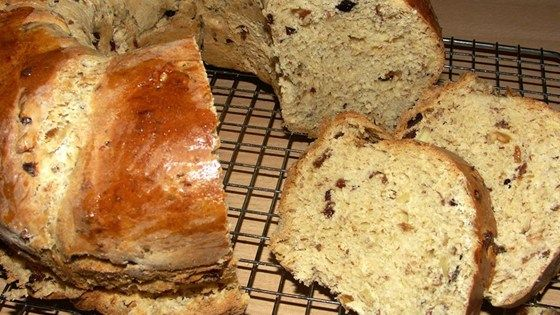This Polish holiday bread is loaded with dried fruit, almonds, and fresh lemon and orange zests. It's topped with a cinnamon-sugar streusel. The recipe makes 3 large loaves.