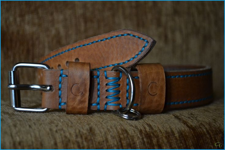 Leather dog collar  Handmade from natural Vachetta