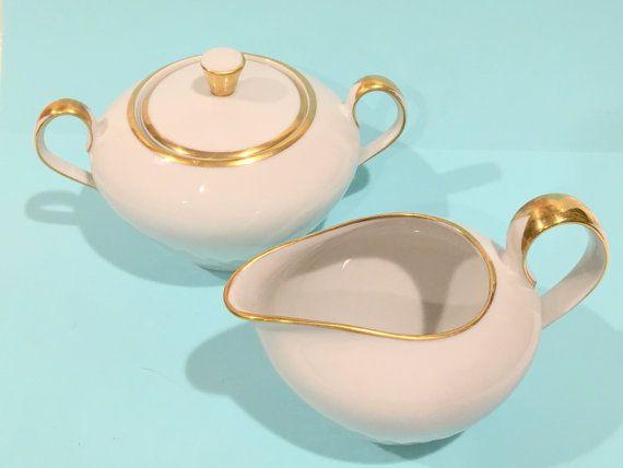 Crema bávara y azúcar porcelana alemana China por AprilsLuxuries