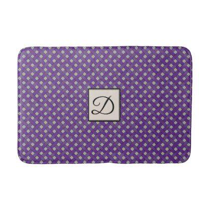 Purple Woven Rattan on Custom Color with Monogram Bathroom Mat - monogram gifts unique custom diy personalize