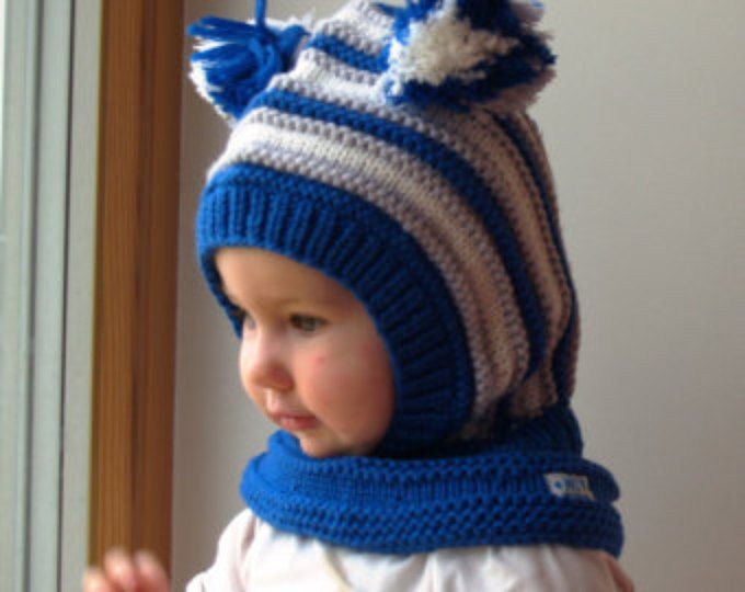 READY TO SHIP sizes 1-3y and 6-10y! Merino Wool Balaclava Hat,Baby/Toddler Hoodie hat with Pom Poms,Royal Blue.