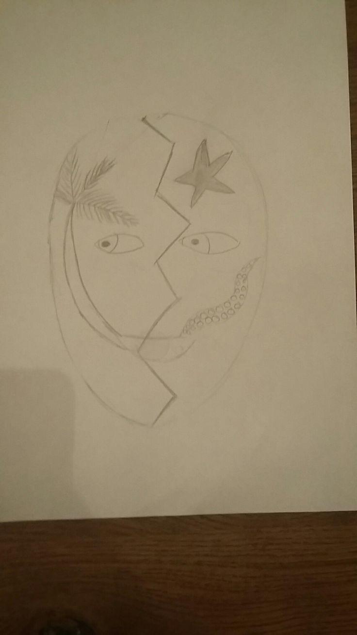Dit is een schets van mijn masker. Aan de linkerkant heb ik een octopus tentacle die uit de mond komt en een zeester (zee). Aan de andere kant heb ik een palmboom die aan de andere kant uit de mond komt (strand)