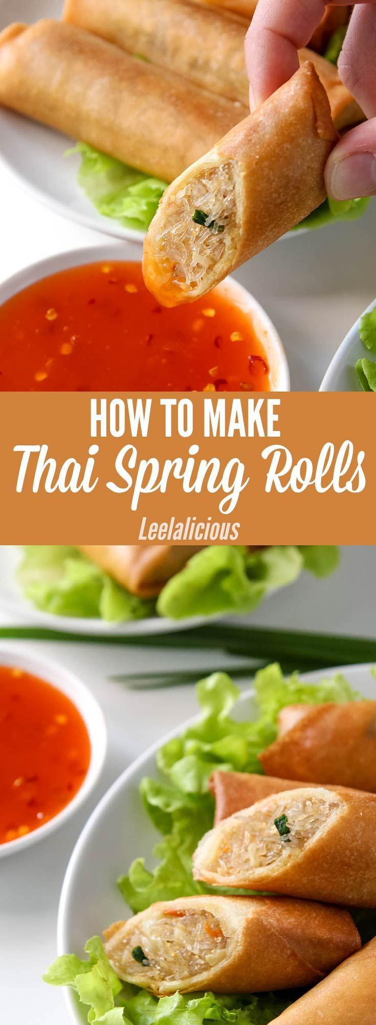 How to make delicious Thai Spring Rolls - this recipe tutorial for crispy spring rolls with vegetable and glass noodle filling is a crowd pleasing appetizer. Perfect with sweet chili sauce dip.