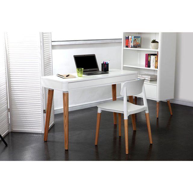 bureau design scandinave blanc et bois totem - Bureau Blanc Et Bois