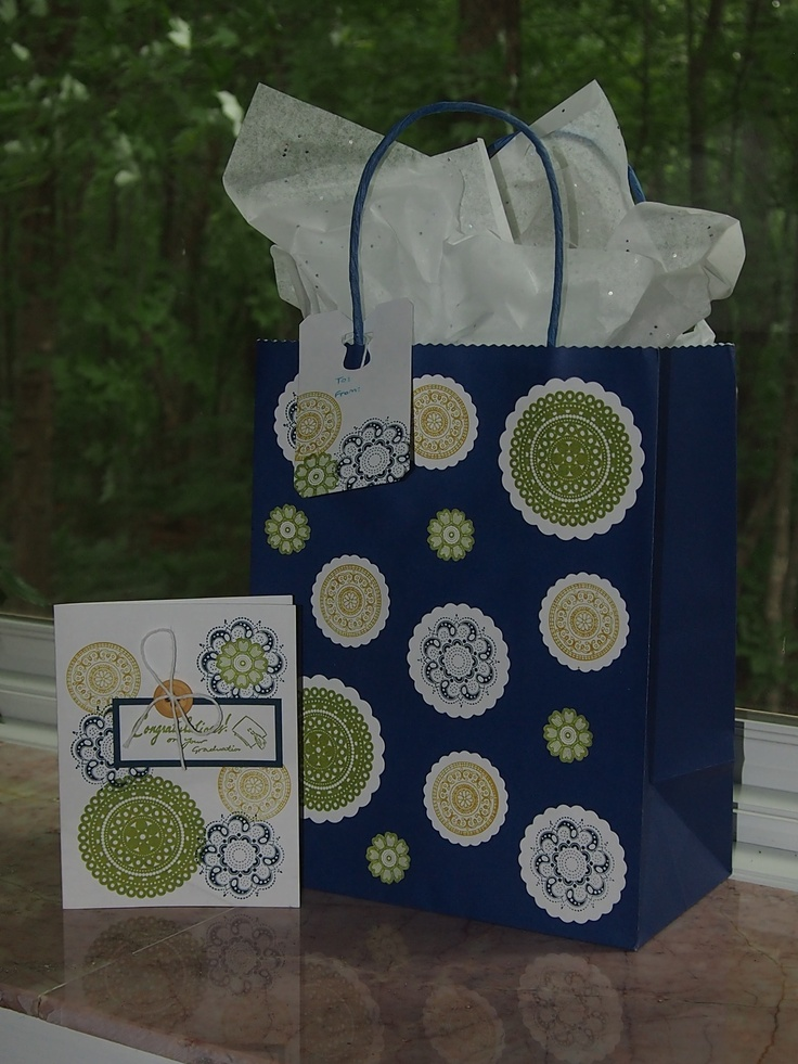Here's some coordinating homemade packaging! I used the Lacy and Lovely stamp set by Stampin Up. The card is available on Etsy: https://www.etsy.com/listing/150202237/hand-stamped-graduation-card?