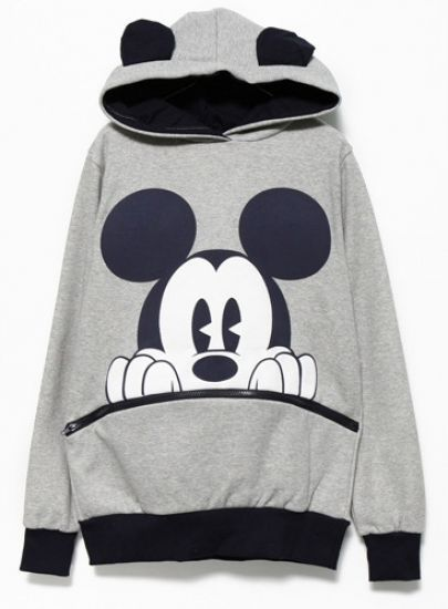 Grey Black Mickey Hooded Sweatshirt