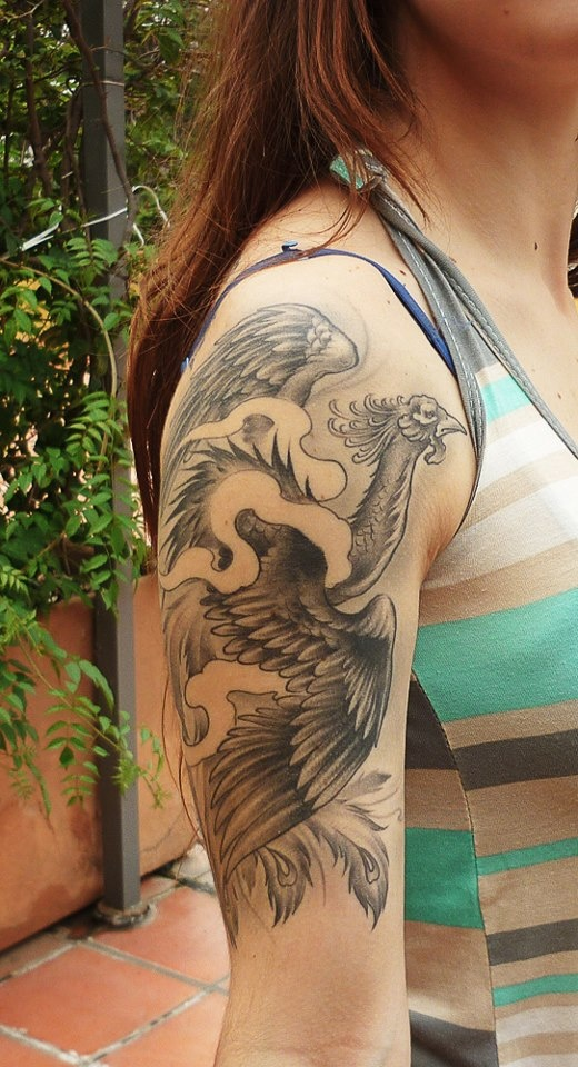 Phoenix tattoo done by Blacky in Rosario, Argentina.