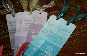 Make cute bookmarks from paint chip cards, rubber stamps, and ribbon