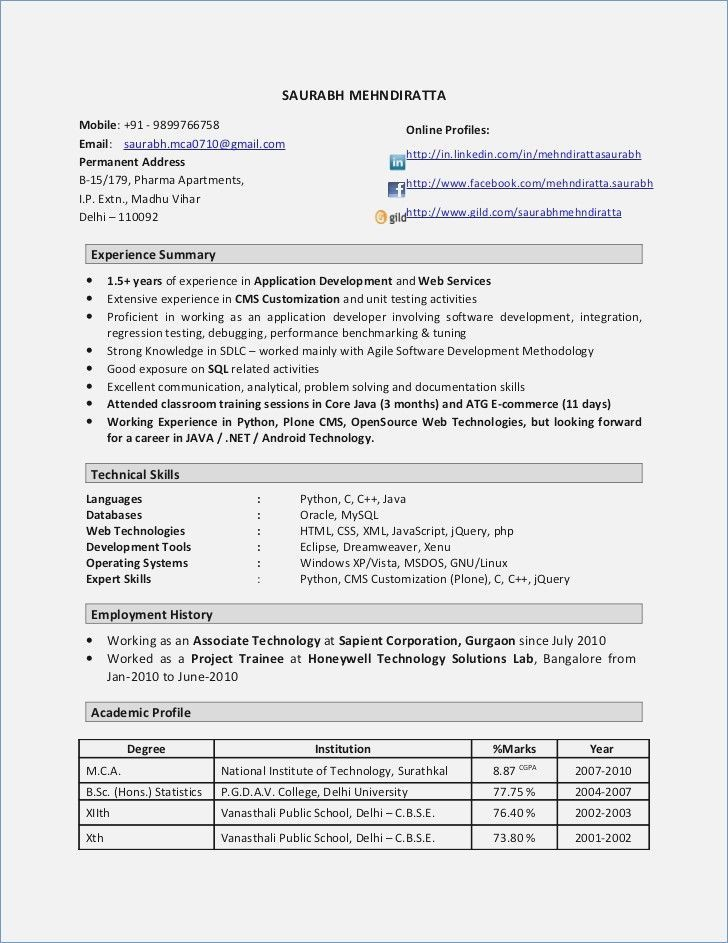 8 Years Experience Resume Software Resume Format Resume Templates