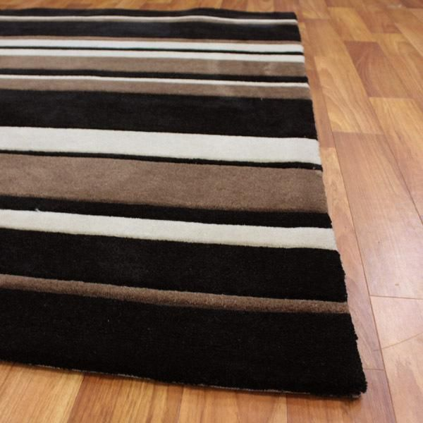 brown beige  black striped bathroom  Awesome Striped Brown Beige Black Rug 220x150cm main