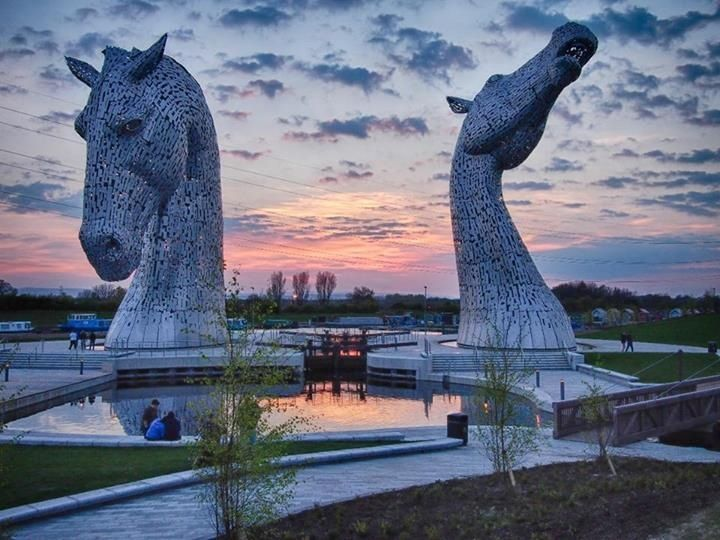 The Kelpies.Scottish artist Andy Scott approx-100-foot high,each head weighs more then 300 tons-stainless steel. Would love to see these in person.....