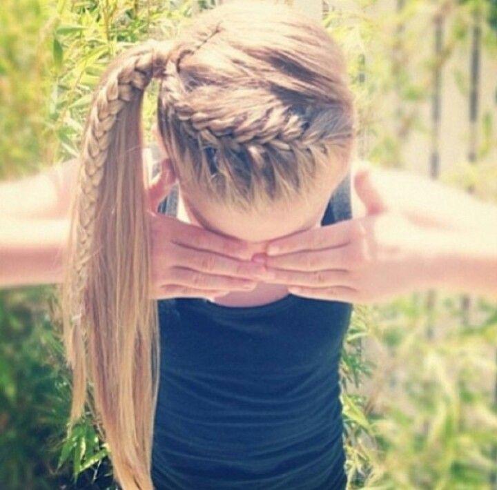 French braid w/ pony tail.