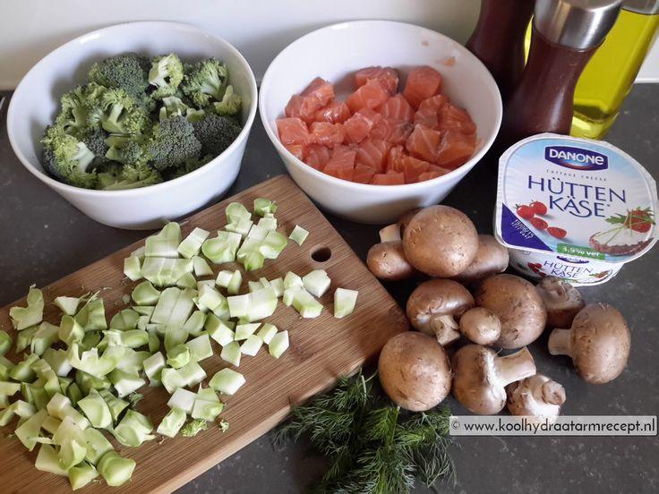 zalm met broccoli en champignons
