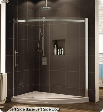curved glass shower door angle stand up shower and nice built in shelve