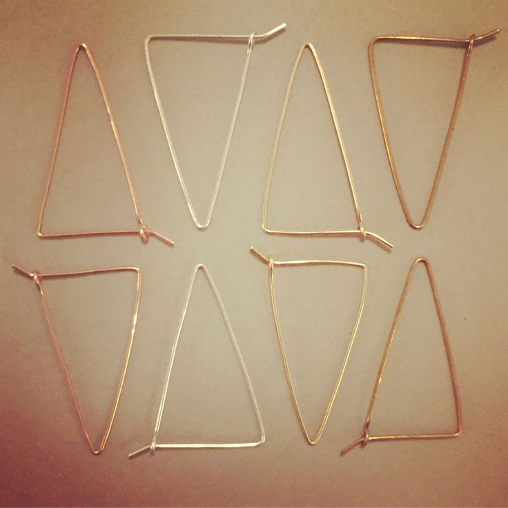 These isosceles shaped wire earrings are oriented downward for grounding, in principle, and are at complimentary angles to neck and jawline. Available in original round wire or hand-hammered finish.  Approx. 1-½ long and ¾ wide at top. Available in 14k gold-filled, 14k rose gold-filled, or sterli