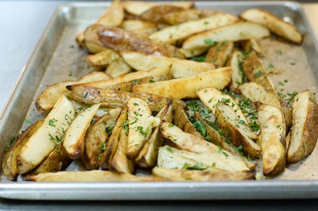Roasted Potato Wedges. These are so yummy! I add Montreal Steak ...