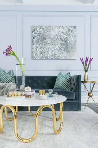 muted hues in a blue living room.