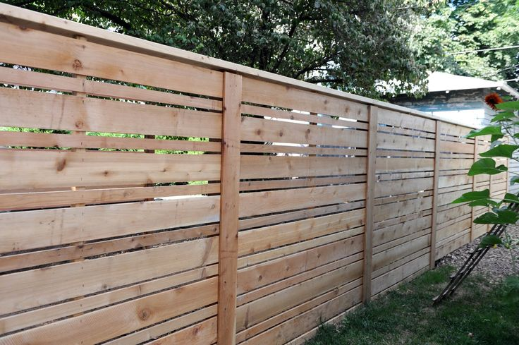 Looking for a modern fence? How about a new twist on classic cedar fencing. This is horizontal slats of varying widths. Gorgeous!