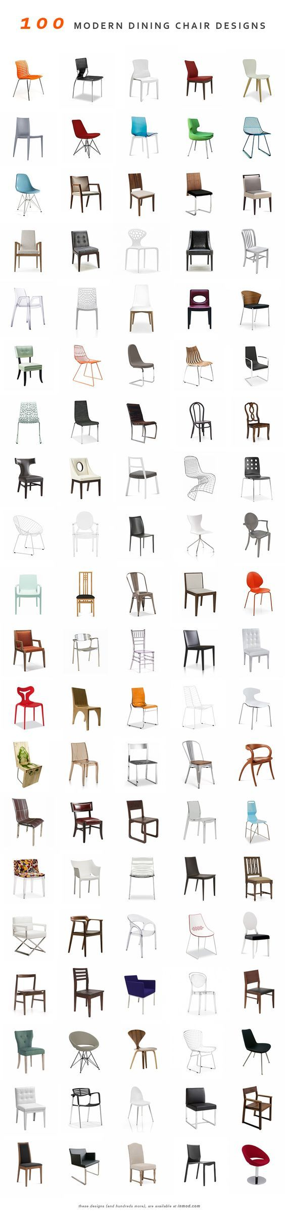 100 Modern Dining Chairs (and hundreds more) @ Inmod. We found the perfect table, but not chairs: