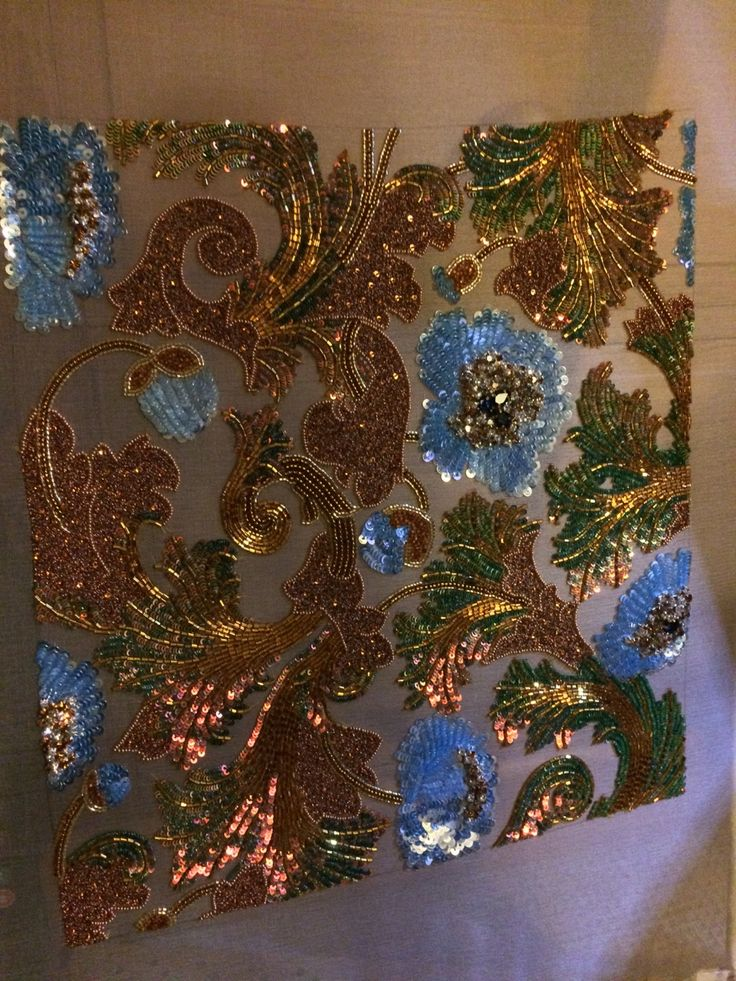 """brodeurbear: """"Blue poppies, bronze and green colour changing sequins. About 100 hours maybe. Came out quite snazzy lol """""""