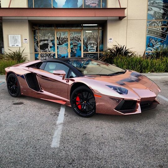 Tyga - Lamborghini Aventador Covered in rose gold Avery Dennison Supreme Wrapping Film by West Coast Customs