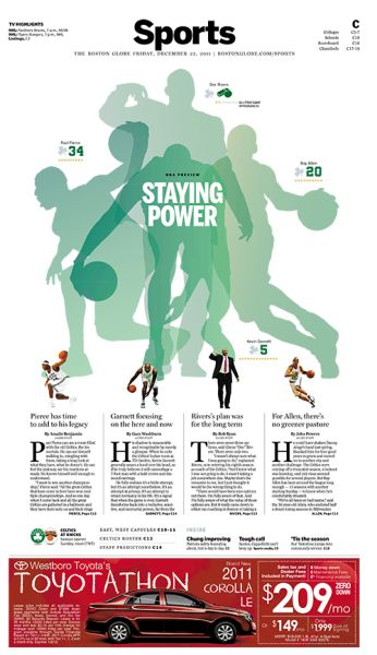 2011 NBA preview in the Boston Globe by Luke Knox. Love the overlapping of the silhouettes to create main illustration
