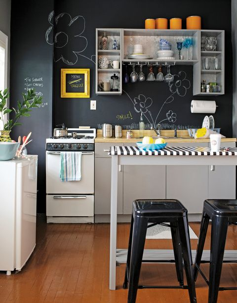 Kitchen or Studio? - Matte chalkboard paint on walls; edgy & whimsical! - The First Apartment Book: Cool Designs for Small Spaces