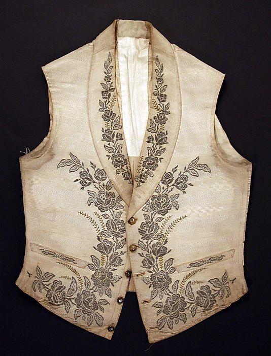 Vest, 1850s. European. Silk. Length: 22 in. Metropolitan Museum of Art.