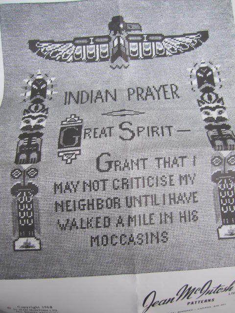 SeeSallySew.com - Indian Prayer Great Spirit Cross Stitch Jean McIntosh Pattern Kit No. M - 19 , $21.00 (http://stores.seesallysew.com/indian-prayer-great-spirit-cross-stitch-jean-mcintosh-pattern-kit-no-m-19/)