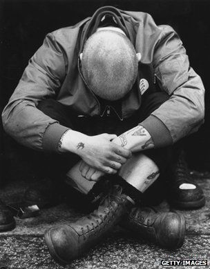 A skinhead at a BM Notting Hill rally in 1980