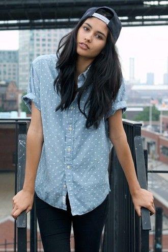 shirt clothes button up tomboy polka dots baby blue collar