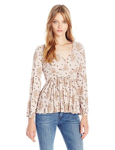 Taylor and Sage Womens Printed Rib Baby Doll Top Pioneer Wood Medium * Details can be found by clicking on the image.(This is an Amazon affiliate link and I receive a commission for the sales)