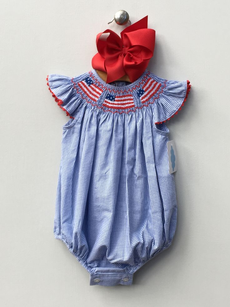 Angel Sleeve 4th of July Smocked US Flags Bubble MBL 48 by Lambs in Ivy Traditions Price: $33.99 Options: 9M, 12M, 18M  To purchase comment Sold, Size, and Email Address!  Then connect here: https://www.soldsie.com/pin/694023