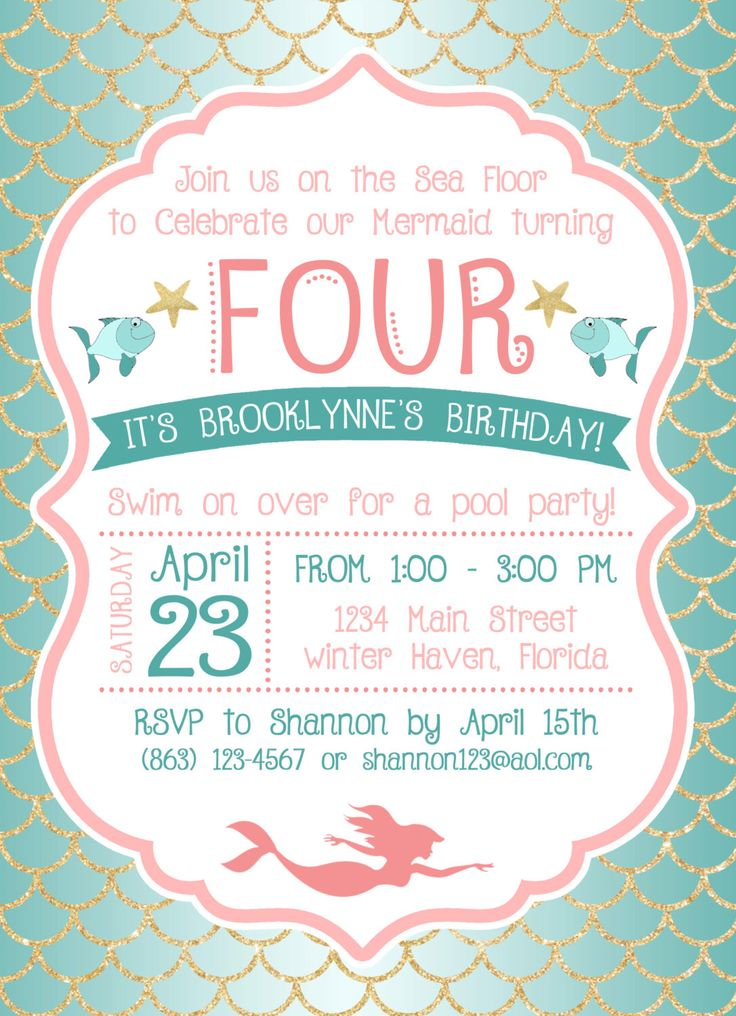 17 Best ideas about Mermaid Party Invitations – Invitation for Bday Party