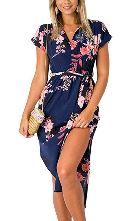 6d0d5573507 ECOWISH Womens Dresses Summer Casual V-Neck Floral Print Geometric Pattern  Belted Dress Blue S