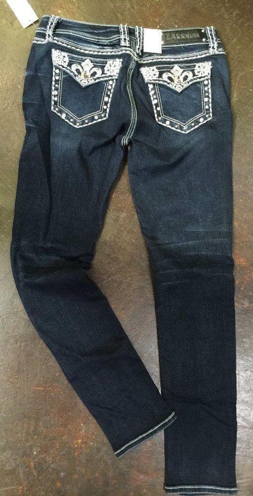 La Idol Designer Rhinestone Bling Pocket Jewel Ladies Skinny Jeans Size 11 - 29 Best Cowgirl Bling Jeans Images On Pinterest