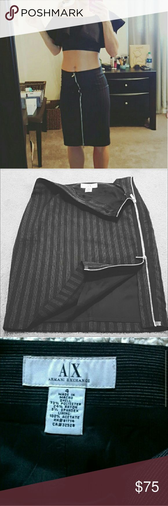 Armani Exchange  Pencil Skirt Great Condition and very stylish zipper goes on the side of your hip but i just like to wear it like on the picture (1) your choice. Sorry this top is not available. Armani Exchange Skirts Pencil