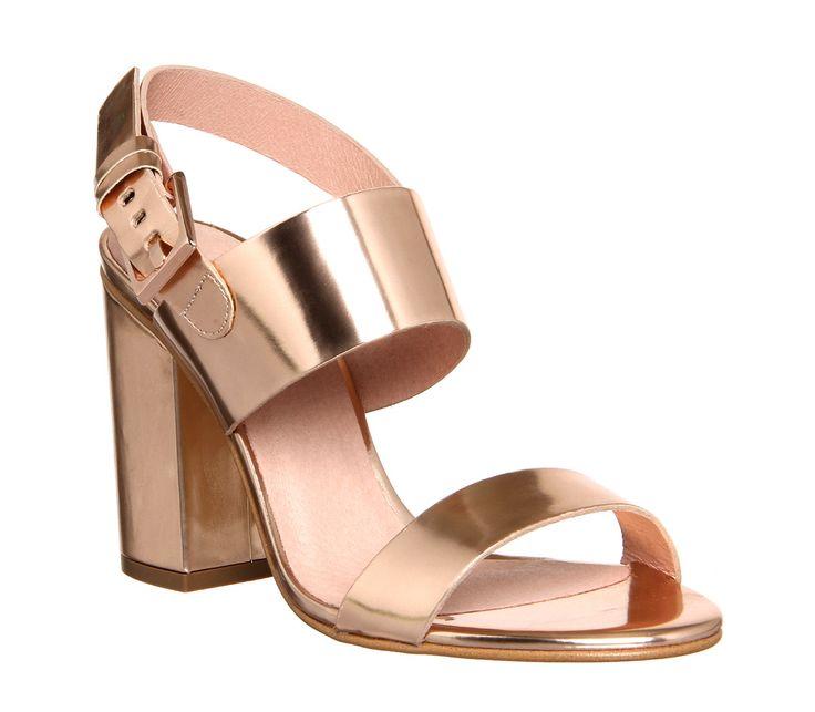 Office Garland Strappy Block Heels Rose Gold - High Heels