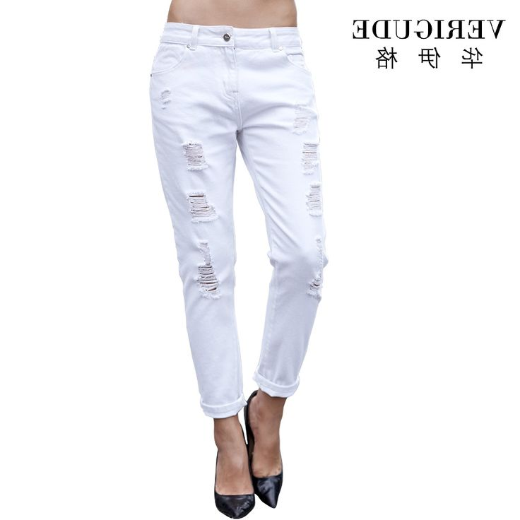 31.99$  Buy now - https://alitems.com/g/1e8d114494b01f4c715516525dc3e8/?i=5&ulp=https%3A%2F%2Fwww.aliexpress.com%2Fitem%2FVeri-Gude-Women-s-White-Jeans-Ripped-Hole-Pencil-Pants%2F32476418686.html - Veri Gude Women's White Jeans Ripped Hole Pencil Pants