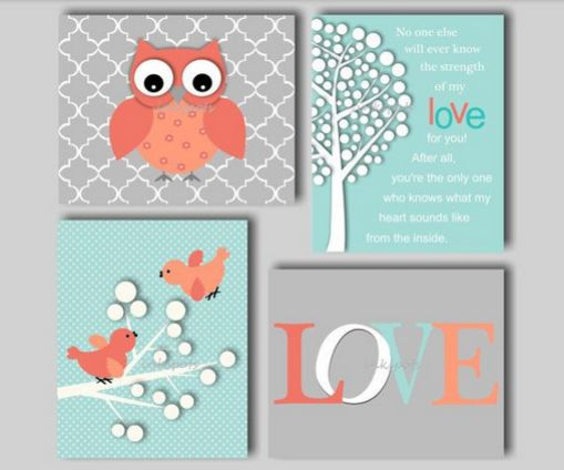Colors are pretty. White blue, grey, coral. Owl, birds, and tree are fun