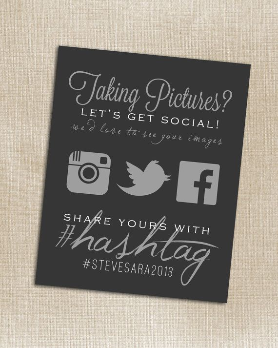 CUSTOMIZABLE - Wedding Instagram Facebook Twitter Black Hashtag Print - Printable - Digital JPG File 8x10