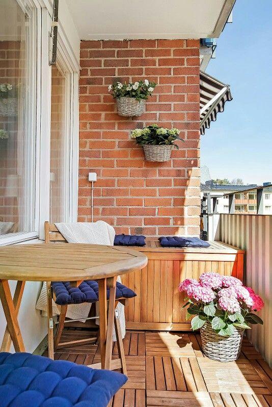 Balkong, trall, hortensia, pläd, homestyling