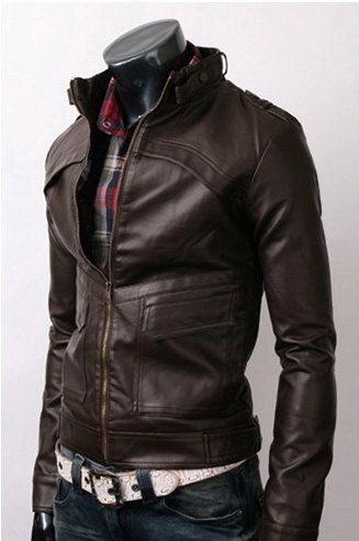 Men Brown Leather Jacket  men slim biker Leather by carpetncarpet