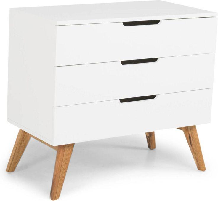 Lipasto Olavi 90x45x80 cm 3 laatikkoa valkoinen/puu lisäkuva 2
